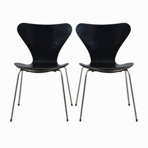 Black 3107 Butterfly Chairs by Arne Jacobsen for Fritz Hansen, 1970s, Set of 2