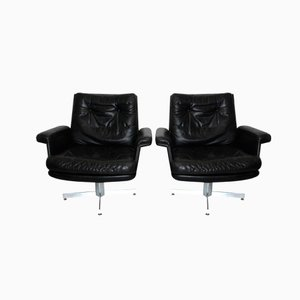 Black Leather Armchairs by H. W. Klein, Set of 2