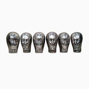 Antique Cast Aluminium German Milliner's Heads, Set of 6