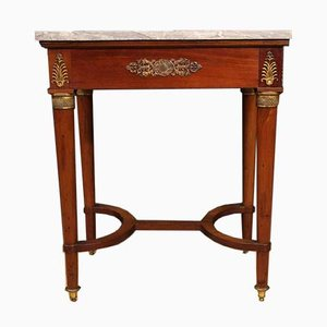 French Side Table in Mahogany Wood with Marble Top