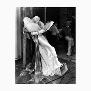 Harlow Studying Her Script Archival Pigment Print Framed in White by Everett Collection