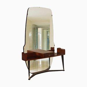 Italienischer Spiegel mit Rahmen aus Nusswurzelholz von Cesare Lacca, 1950er