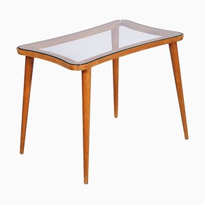 Mid-Century Modern Coffee Table with Glass Top in the Style of Ico Parisi