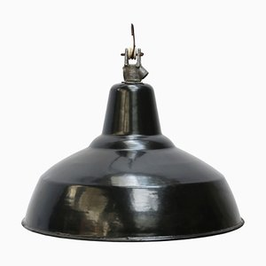 Industrial Black Enamel Hanging Lamp, 1950s