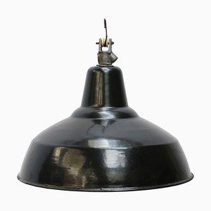 Lampe à Suspension Industrielle en Email Noir, 1950s