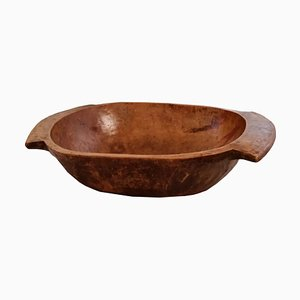 Antique Tirolean Hand-Carved Chestnut Wood Basin Bowl