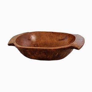 Bacinella antica tirolese in legno di castagno intagliato a mano