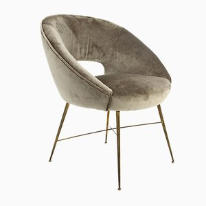 Grey Velvet Armchair by Silvio Cavatorta for Silvio Cavatorta, 1950s