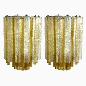 Italian Murano Glass Trilobi Ceiling Lamps from Venini, 1960s, Set of 2