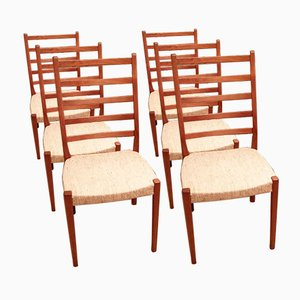 Mid-Century Ladder Back Teak Dining Chairs from Svegards Markaryd, Set of 6