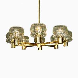 Mid-Century Scandinavian Brass and Glass Chandelier by Hans-Agne Jakobsson for Hans-Agne Jakobsson AB Markaryd, 1960s