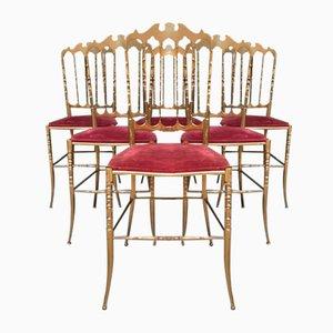 Brass Chiavari Chairs, 1950s, Set of 6