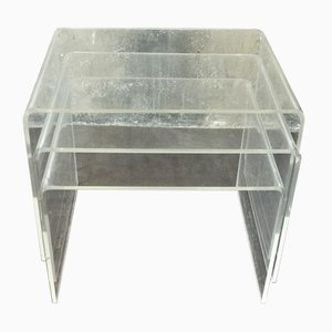 Vintage Plexiglass Side Tables, 1970s, Set of 3