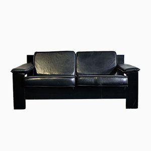 Brutalist 2-Seater Sofa in Black Leather by Harry de Groot for Leolux, 1970s