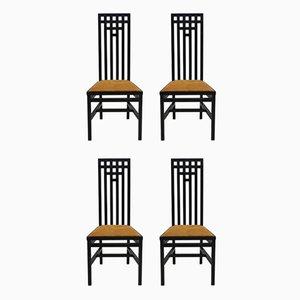 Chaises de Salon à Haut Dossier en Bois Laqué Noir, 1979, Set de 4