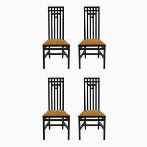 High Back Dining Chairs in Black Lacquered Wood, 1979, Set of 4