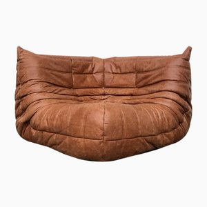 Vintage French Togo Corner Seat in Cognac Leather by Michel Ducaroy for Ligne Roset
