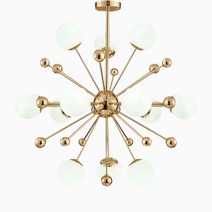 Sputnik Ceiling Lamp with Opal Glass Spheres, 1970s