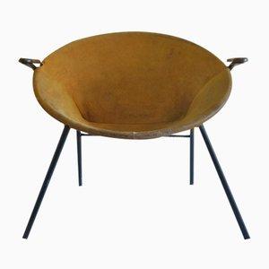 Mid-Century Suede & Teak Armchair by Hans Olsen for Lea Mobler