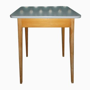 Mid-Century Square Wood & Formica Dining Table
