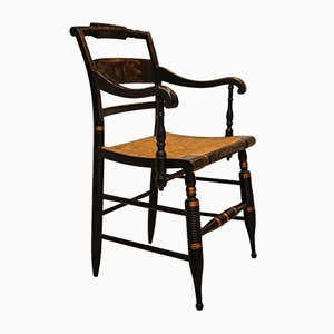 Armchair with Ebonised Frame & Rush Seat by Lambert Hitchcock for Hitchcock Chair Company