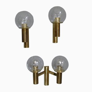 Minimalist Brass Wall Lights with Spheres in Glass from OTT International, 1960s, Set of 3