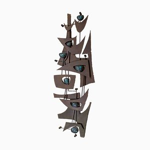 Large Modernist Art Movement Brutalist Iron Wall Sculpture, 1950s
