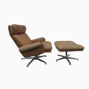 Mid-Century Leather Lounge Swivel Chair with Ottoman