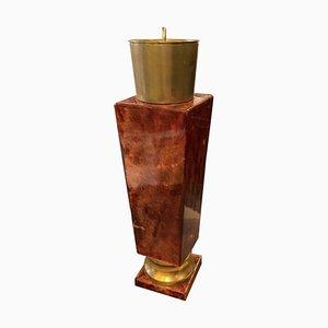 Mid-Century Modern Brass and Red Goatskin Shaker by Aldo Tura, 1950s