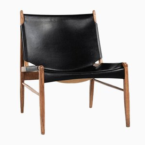 Mid-Century Lounge Chair in Oak & Leather by Franz Xaver Lutz for WK Möbel, 1950s
