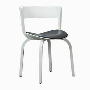 Oak Bentwood & White Leather Model 404 SPF Chair from Thonet, 2014