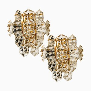 Large Gilt Brass Faceted Crystal Sconces from Kinkeldey, 1960s, Set of 2