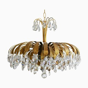 Large Brass and Crystal Chandelier from Palwa, Germany, 1960s
