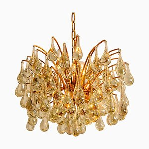 Large Brass and Crystal Chandeliers by Christoph Palme, Germany, 1960s