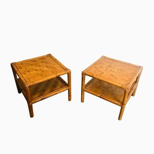 French Bamboo and Rattan Side Tables, 1970s, Set of 2