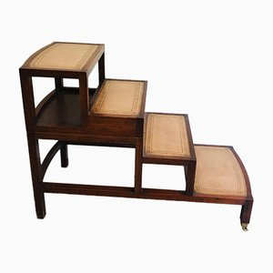 French Wood & Leather Folding Library Staircase Transformable into a Coffee Table, 1950s