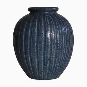 Art Deco Fluted Blue Stoneware Vase by Arne Bang, 1930s