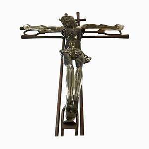 Murano Glass and Iron Pipe Christ of the Glassblowers Sculpture from Ermanno Nason, 1970s
