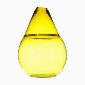 Vintage Asimmetrico Vase in Bright Yellow Incalmo Murano Glass by Paolo Crepax