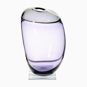 Vintage Asymmetric Organic Vase in Amethyst Gray Incalmo Murano Glass by Paolo Crepax