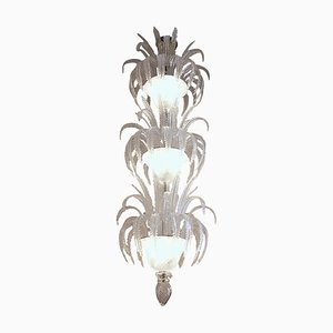 Vintage Murano Glass 3-Bowl 100-Leaf & Stairwell Chandelier by Barovier