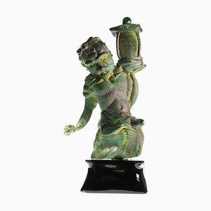 Massiccio Murano Glass Tentoki Sculpture in Bronze Verdigris & Sulfur Texture