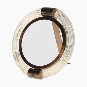Vintage Picture or Mirror Frame in Massiccio Murano Glass & Brass from Seguso Vetri d'Arte