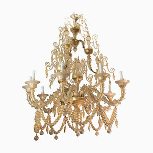 Gold-Leaf Over Clear Pearl Rezzonico 9-Arm Chandelier from Cesare Toso, 1950s