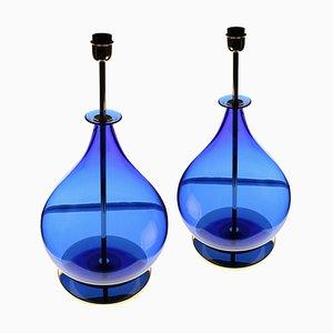 Vintage Deep Cobalt Blue Murano Gourd Shape Table Lamps by Alberto Donà, Set of 2