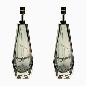 Vintage Grey Murano Massiccio Faceted Shape Table Lamps by Alberto Donà, Set of 2