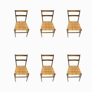699 Superleggera Chairs by Gio Ponti for Cassina, 1957, Set of 6