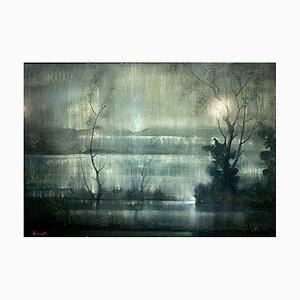 Lake Landschaftsmalerei von Bernard Houzet, 1950er
