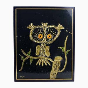 Owl Oil on Metal, 1970s