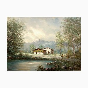 Antique Piedmont Lake Landscape by Antoni Louis Ferdinand